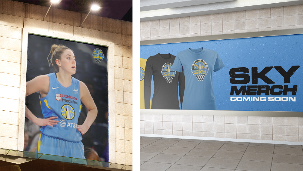 Posters for Chicago Sky showing off the new logo and merchandise.