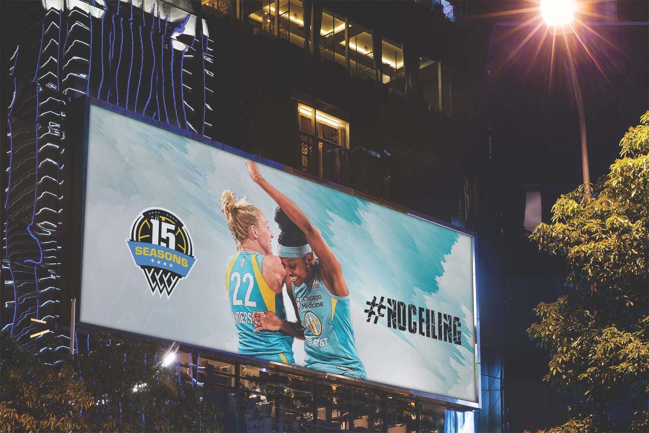 Billboard of the Chicago Sky campaign using the new logo.