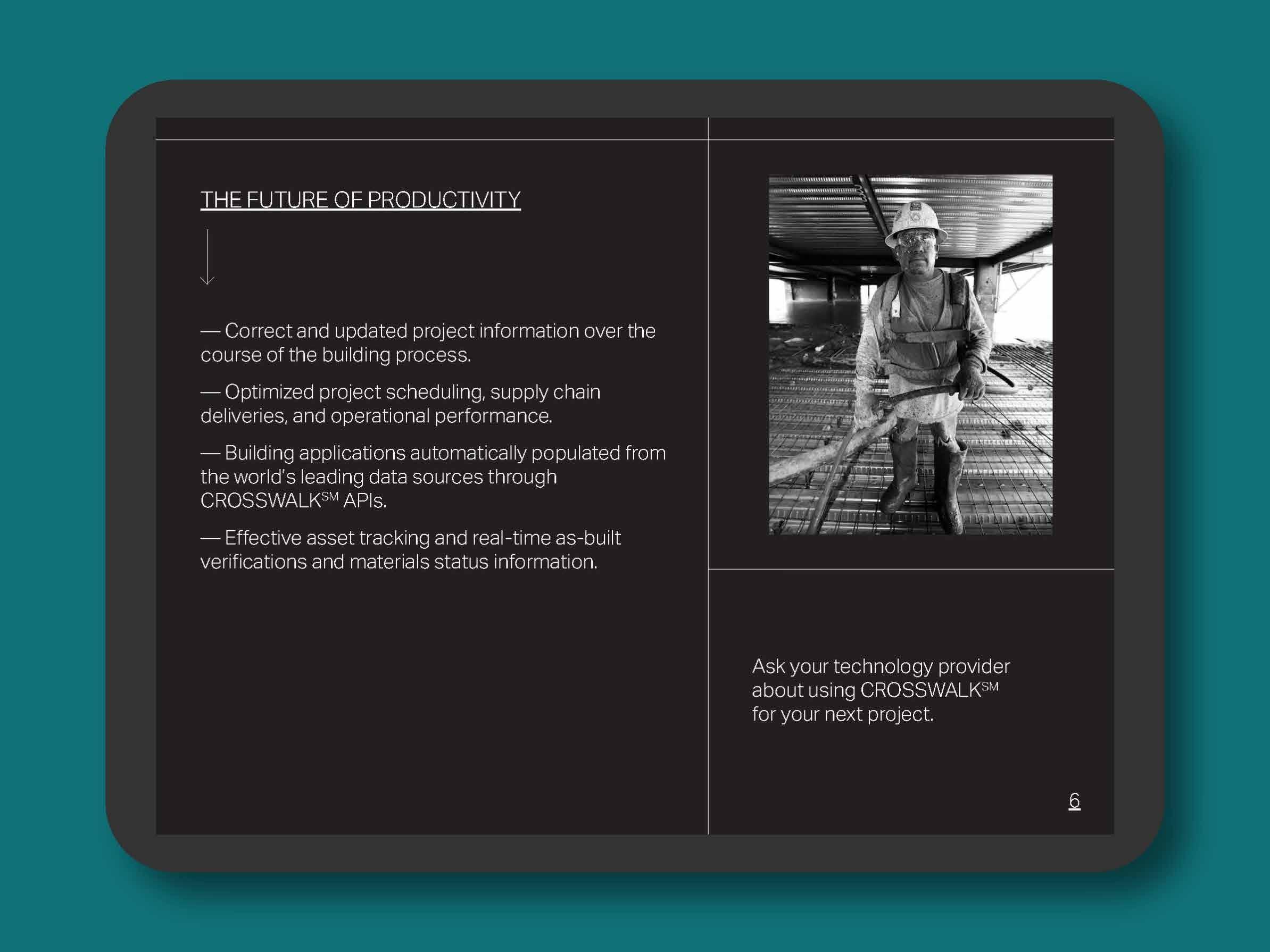 The Bauhaus Crosswalk brochure on a tablet.