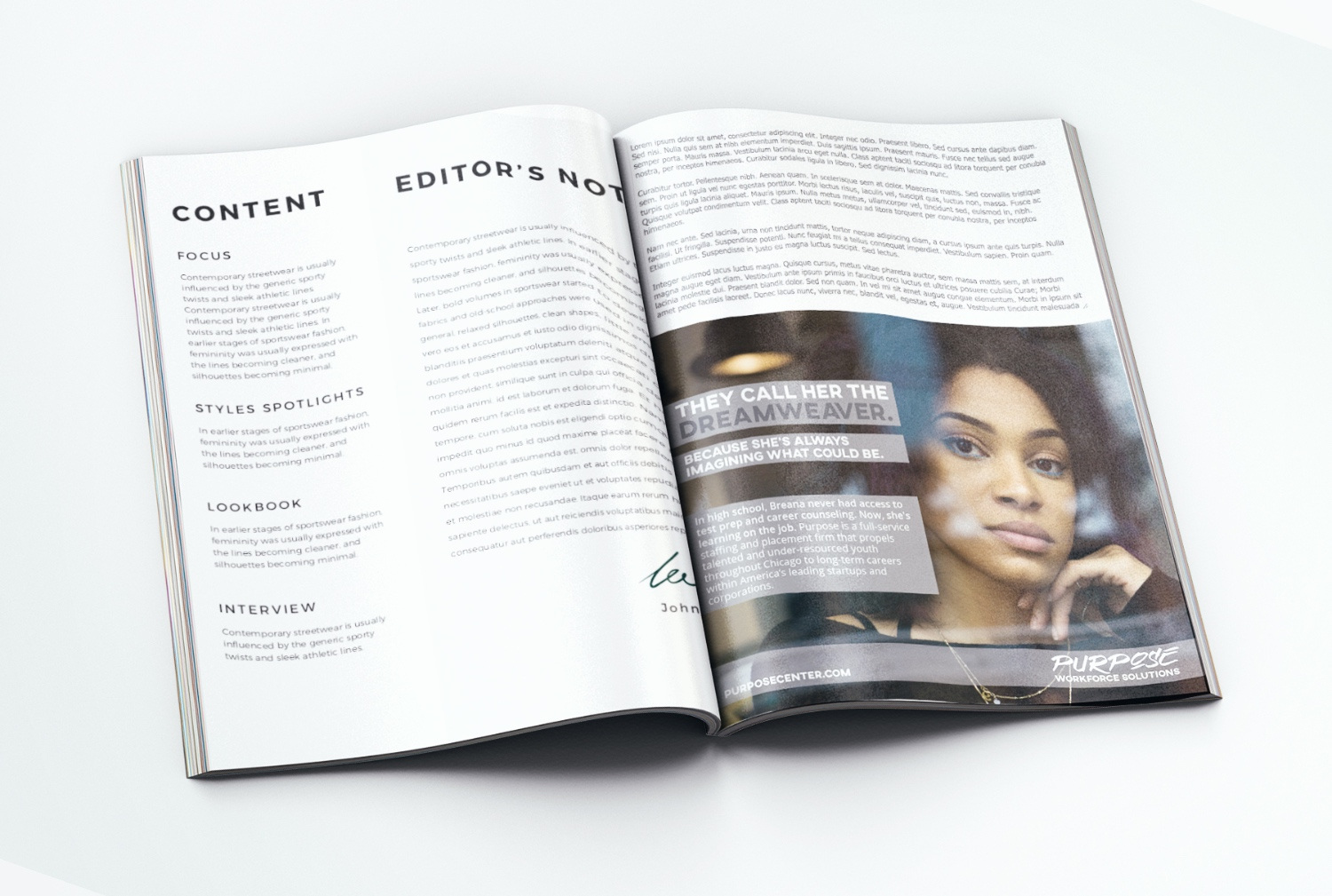 An ad campaign for Purpose in a magazine.