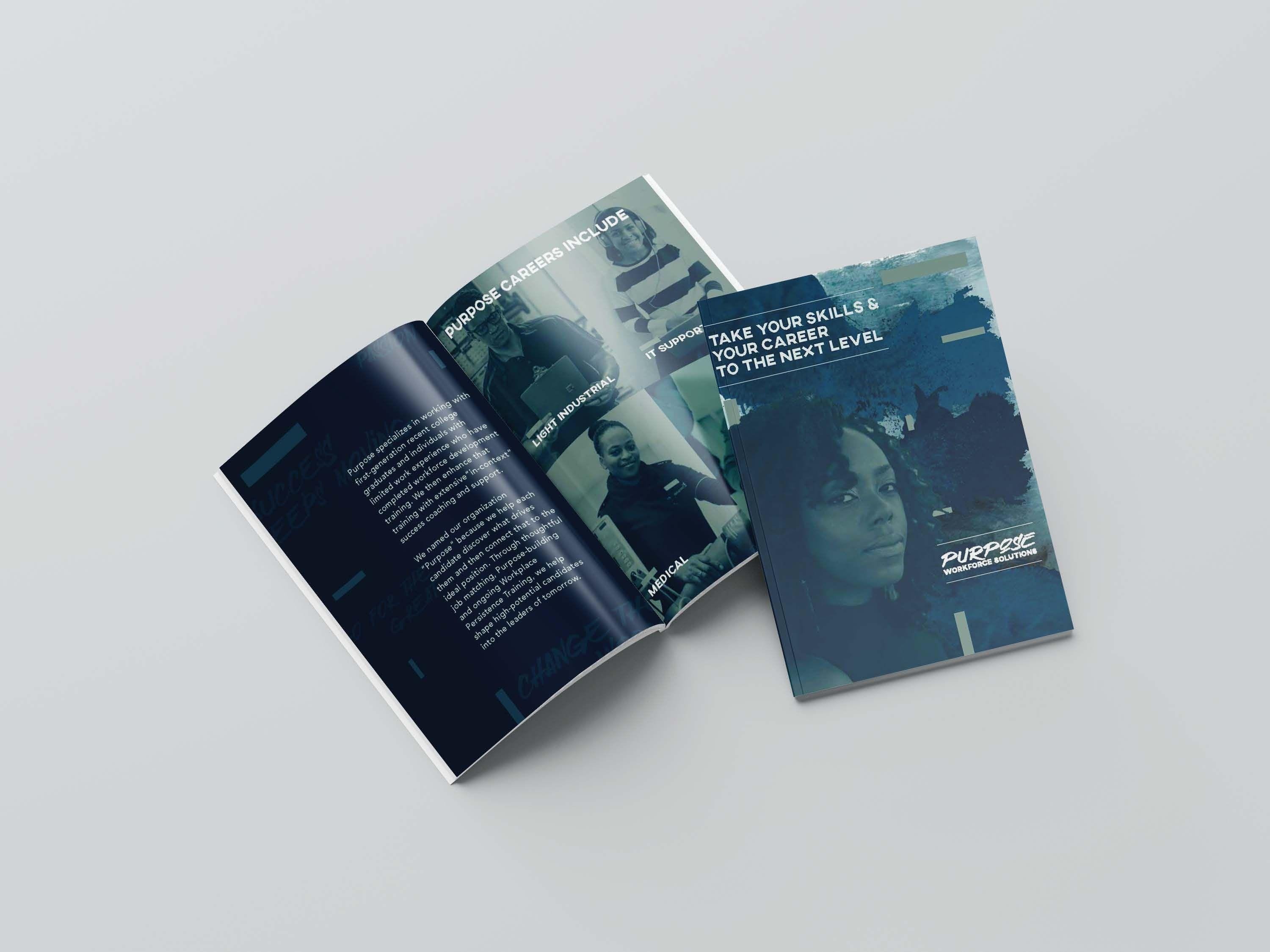 The cover and pages of the Purpose brochure.