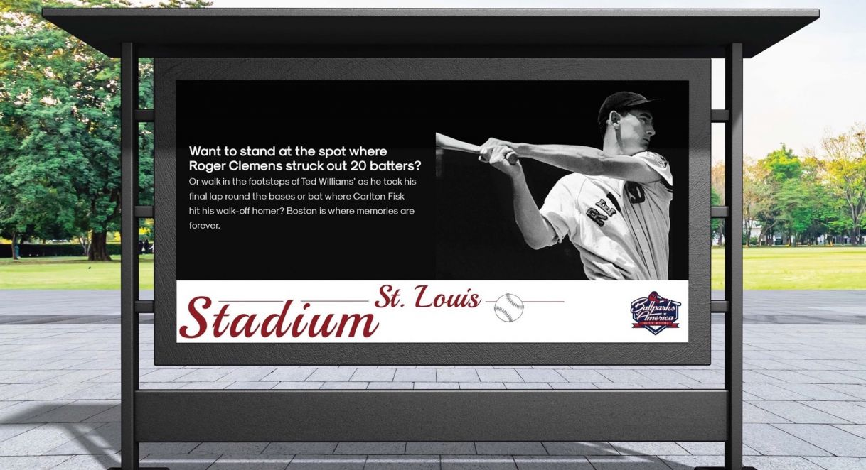 Billboard of the Ballparks of America ad campaign.
