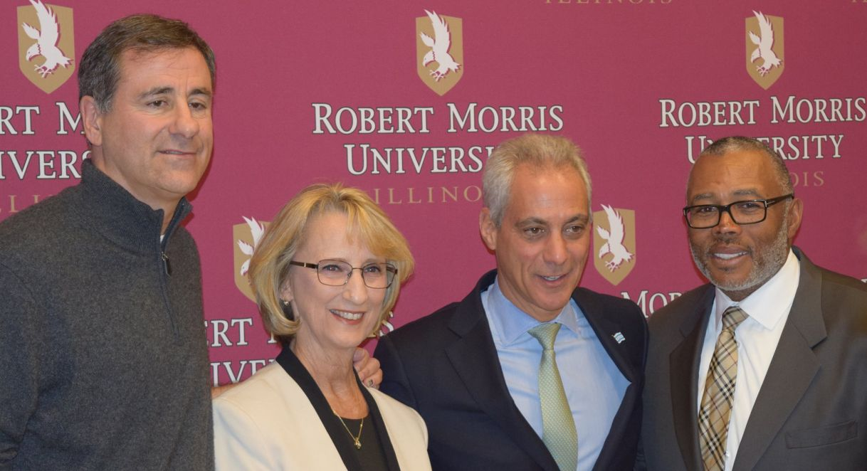 Robert Morris University leaders with Chicago Major Rahm Emanuel.
